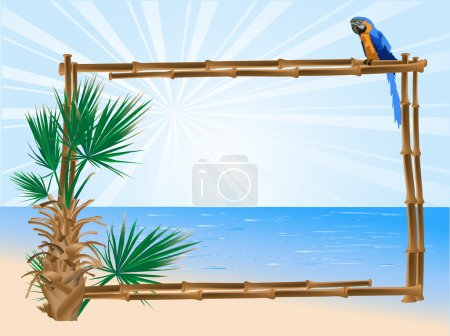 Illustration for Bamboo frame, palm tree and the parrot - Royalty Free Image