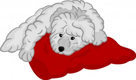 Illustration for Vector - small puppy lying on red pad, isolated on background - Royalty Free Image