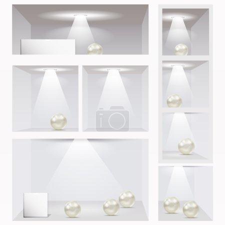 Expo shelves. Editable illustration.