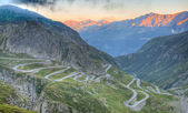 Old road with tight serpentines bends of the St. Gotthard pass