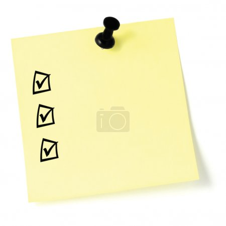 Yellow sticker checklist, black check boxes and tick marks, thum