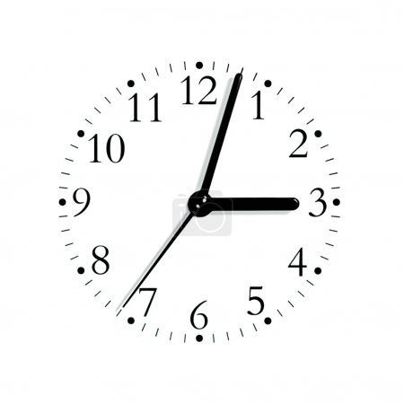 Black and white analogue clock face dial at 3:03, isolated