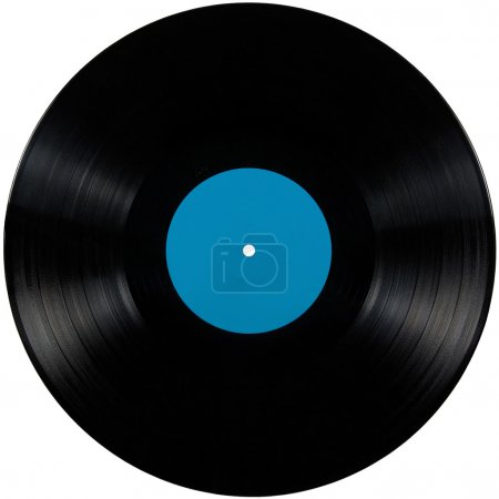 Photo pour Disque vinyle noir ; disque isolé de longue durée avec étiquette vierge en bleu cyan - image libre de droit