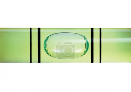 Levelled spirit level gauge macro closeup isolated