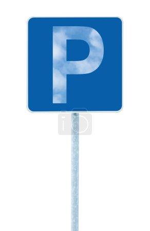 Señal de lugar de estacionamiento en poste, señal de tráfico vial, estilizado
