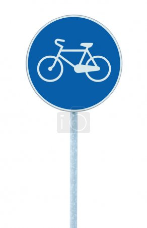 Bicycle lane sign indicating bike route, large blue round isolated