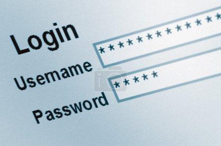 Login Screen Macro Capture Closeup, Medium Blue Website, ecommerce e access online user web page password username