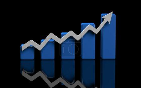 Photo pour Business finance graphique, diagramme, barre, graphique sur noir - image libre de droit