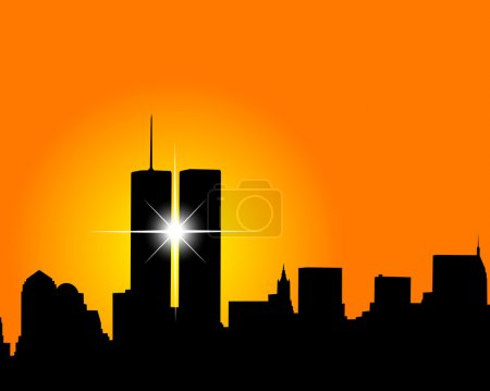 Illustration for Silhouette of skyscrapers twins on an orange background - Royalty Free Image