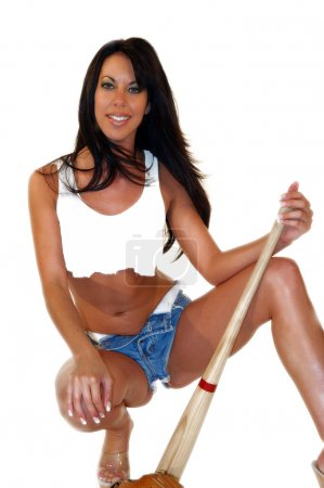 Photo for Sexy woman with baseball bat kneeling - Royalty Free Image
