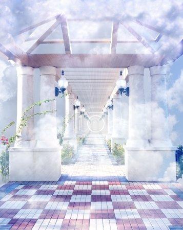 Photo pour La porte d'entrée vers le ciel dans les nuages. - image libre de droit