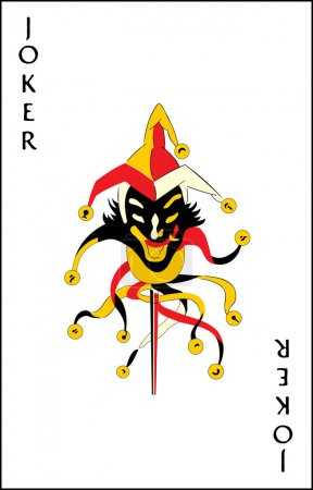 "Illustration for ""Jumping jack"" joker playing card - Royalty Free Image"