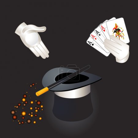 Illustration for Magician hands with aces and joker, top hat, magic wand and magic dust - Royalty Free Image