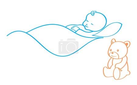 Illustration pour Bébé mignon qui dort avec ours en peluche garde - image libre de droit