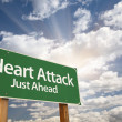 Heart Attack Green Road Sign with Dramatic Clouds,...