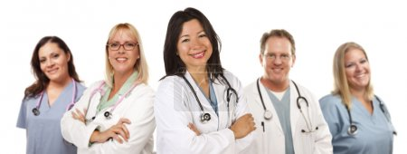 Hispanic Female Doctor and Colleagues