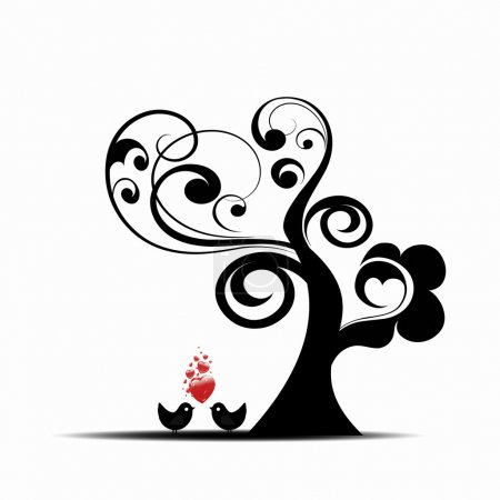 Illustration pour Bel arbre d'art et oiseaux isolés sur fond blanc - image libre de droit