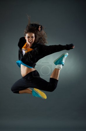 Woman dancer jumping