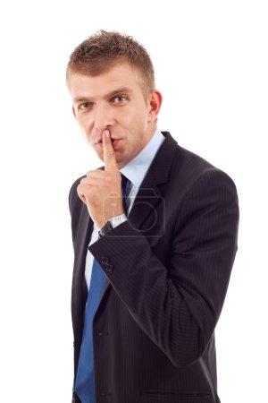 Photo pour Homme d'affaires jeune demande au calme sur un fond blanc - image libre de droit