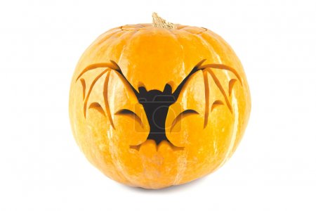Halloween pumpkin with cut out bat