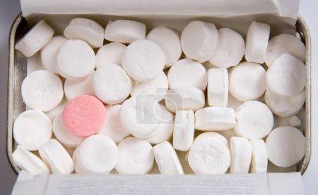 Photo pour Debout sur menthe rose parmi les bonbons à la menthe blanches - image libre de droit