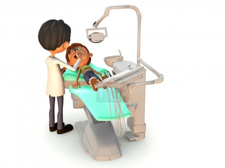 Cartoon boy getting a dental exam.