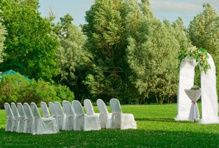 Outdoors wedding ceremony