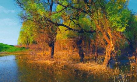 Photo pour Paysage peinture montrant la forêt inondée de vieux journée d'été ensoleillée. - image libre de droit