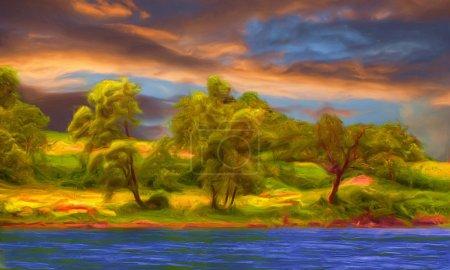 Photo pour Peinture de paysage magnifique montrant des arbres de la forêt à côté de la rivière. - image libre de droit