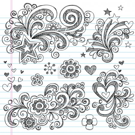 Illustration for Hand-Drawn Back to School Sketchy Doodles Design Elements with Flowers, Hearts, and Stars on Lined Notebook Paper Background- Vector Illustration. - Royalty Free Image