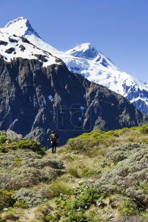 Foto de Excursionista mujer los senderos hacia las cumbres en Nueva Zelanda - Imagen libre de derechos