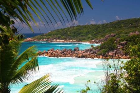 Tropical beaches wit azure see, La Digue, Seychelles