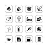 Set of 16 professional energy icons BW series