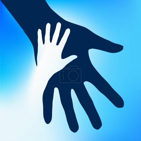 Illustration for Helping Hands Child. Illustration on blue background for design - Royalty Free Image