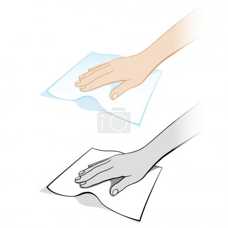 Illustration for Two variants of a womans hand with a rag. Illustration on white background - Royalty Free Image