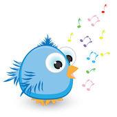 Cartoon blue sparrow singing