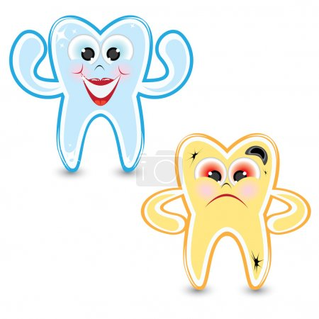 Cartoon healthy and diseased tooth