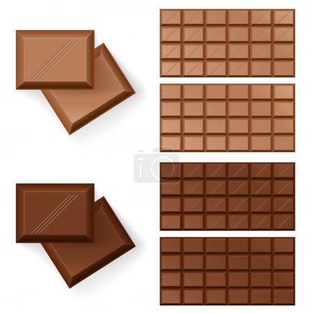 Illustration pour Ensemble de barres chocolatées. Illustration sur fond blanc - image libre de droit