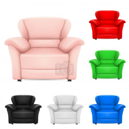 Illustration for Colored set of stylish chairs. Illustration on white background - Royalty Free Image