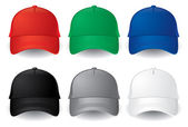 Set of solid color vector baseball caps isolated on white