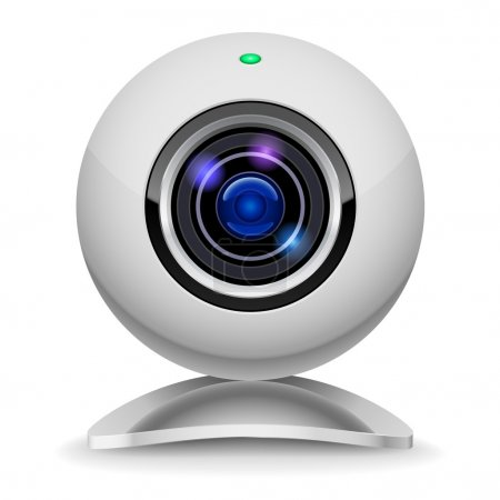 Realistic white webcam. Illustration on white back...