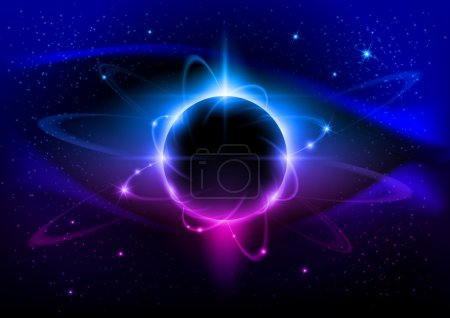 Illustration for Black star. Abstract Space background for design. - Royalty Free Image