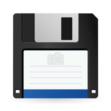 Magnetic floppy disc icon for computer data storag...