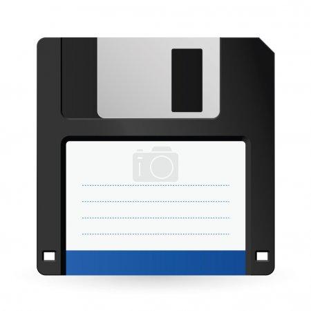 Magnetic floppy disc icon for computer data storag...