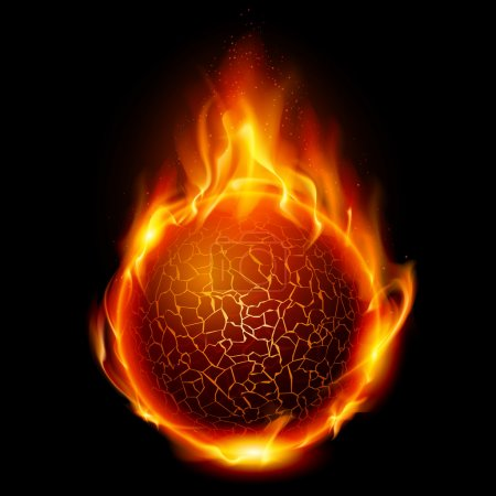 Illustration for Fire ball. Illustration on black background for design - Royalty Free Image