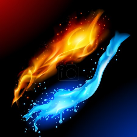 Illustration for A bright blue and yellow orb circle representing the elements of fire and water. - Royalty Free Image