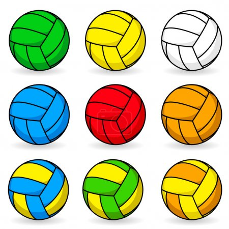 Cartoon volleyball in different colors...
