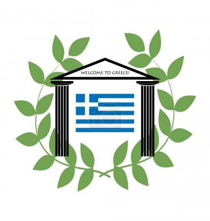 Greek Temple with Doric columns and greek flag