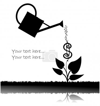 Illustration for Water can watering a tree with us dollar symbol over white background - Royalty Free Image