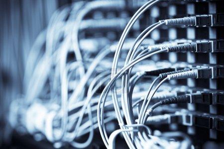 Photo pour Un plan de câbles réseau connectés à des routeurs dans un centre de données - image libre de droit
